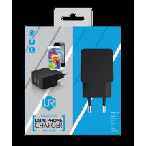 Зарядное устройство 5W Wall Charger with 2 USB ports - black