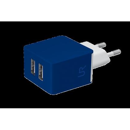 Зарядное устройство 5W Wall Charger with 2 USB ports - blue