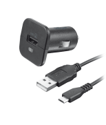 Автомобильное зарядное устройство  5W with micro-USB cable 1m (Black)