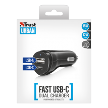 Зарядное устройство Fast Dual USB-C & USB Car Charger for phones & tablets