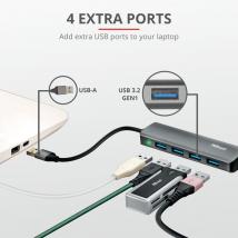 USB хаб Trust Halyx Aluminium 4-Port USB 3.2 Hub