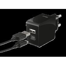Зарядное устройство Fast Dual USB-C & USB 17W (Black)