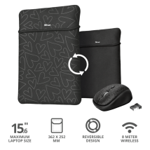 "Чохол для ноутбука + миша Trust Yvo Reversible Sleeve for 15.6 ""Laptops - black hearts"