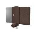 "Чохол для ноутбука + миша Trust Yvo Reversible Sleeve for 15.6 ""Laptops- brown hearts"