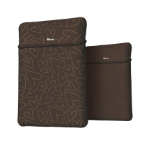 "Чехол для ноутбука + мышь Trust Yvo Reversible Sleeve for 15.6"" Laptops- brown hearts"