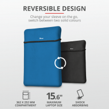"Чехол для ноутбука + мышь Trust Yvo Reversible Sleeve for 15.6"" Laptops  - blue"