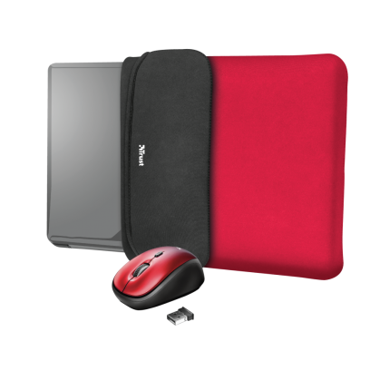 "Чохол для ноутбука + миша Trust Yvo Reversible Sleeve for 15.6 ""- red"