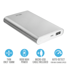 Ультратонкое портативное зарядное устройство Ula Thin Metal Powerbank 8000 mAh