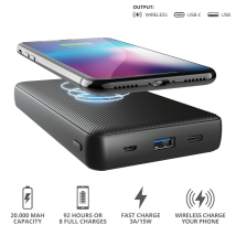 Бездротовий Powerbank Trust Primo Wireless Charging 20.000 mAh